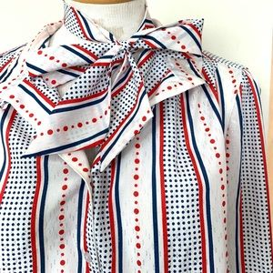 Polka Dot Blouse Tie Scarf Vintage Red White Blue
